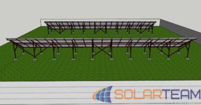 3D модель солнечной электростанции на земле в Лозоватке